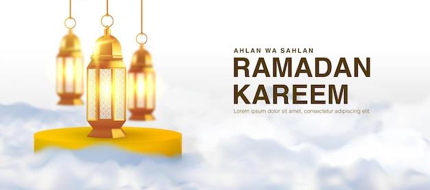 Ramadan kareem szablon z 3d realistyczną arabską latarnią i chmurami.