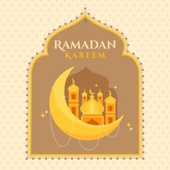 Ramadan kareem tło płaska konstrukcja