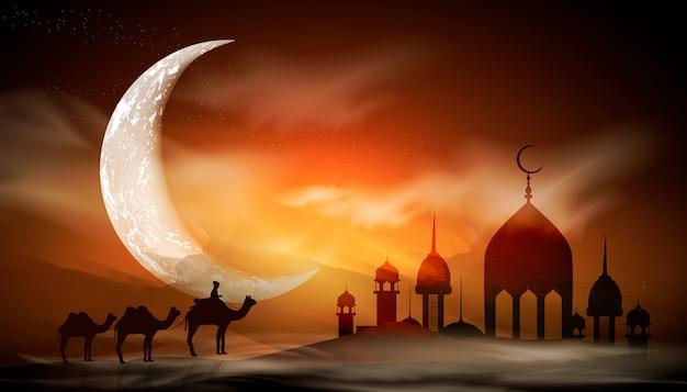 Ramadan kareem tło. religia święty miesiąc. kaligrafia jasny księżyc. chmury świątynia z kopułami. stare miasto muzułmańskie.