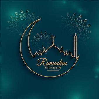 Ramadan kareem tło w stylu linii
