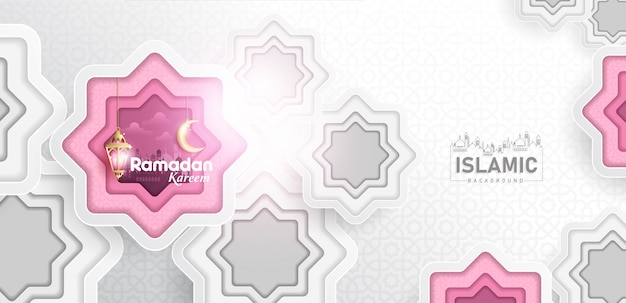 Ramadan kareem tło w sztuce papieru lub cięcia papieru stylu vector
