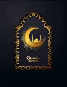 Ramadan kareem tło wykonane z błyszczącego złotego ornamentu i efektu wyciętego papieru.