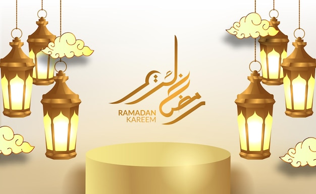 Ramadan kareem tło z 3d luksusowym podium i lanters
