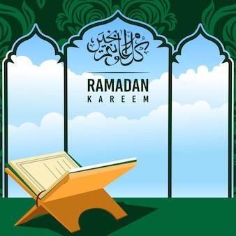 Ramadan kareem tło z al koranu