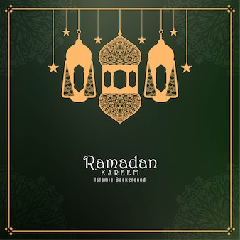Ramadan kareem tło z latarniami