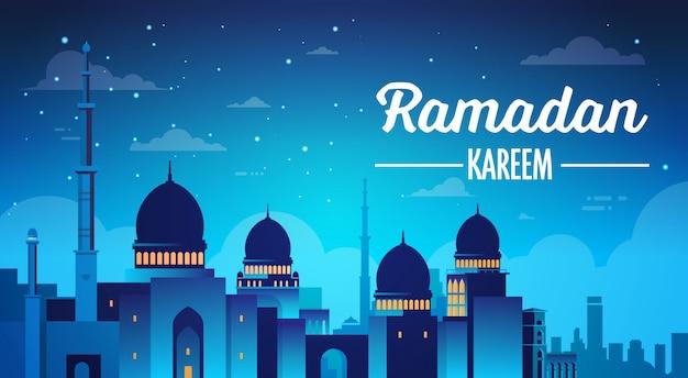 Ramadan kareem tło z meczetu