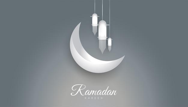 Ramadan kareem tło z metalicznym stylem