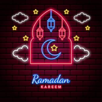 Ramadan kareem tło z neonowym stylem.
