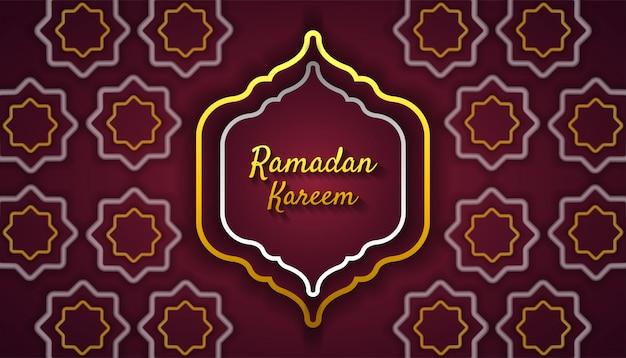 Ramadan kareem tło z ornamentem islamskim w złotym i srebrnym