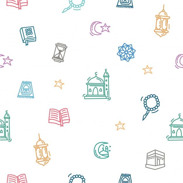 Ramadan kareem wzór zarysu doodle