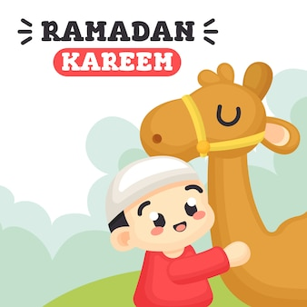 Ramadan kareem z cute boy i camel illustration