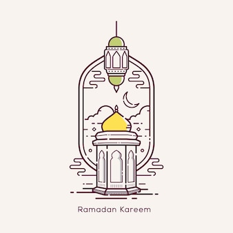 Ramadan kareem z ilustracją projektu linii