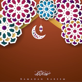 Ramadan kareem z latarnią geometrii