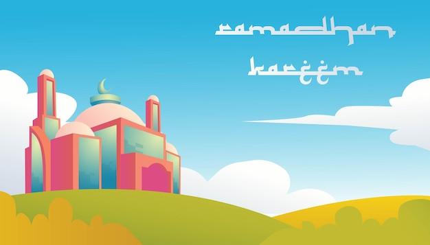 Ramadan kareem z meczetem, budowanie pięknego krajobrazu i chmury w tle