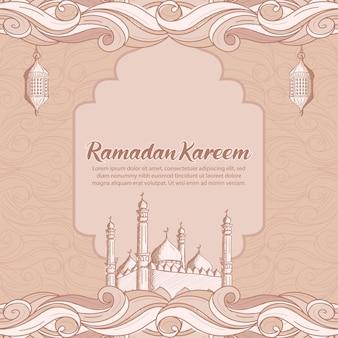 Ramadan kareem z ręcznie rysowaną islamską ilustracją meczetu i latarni
