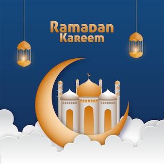 Ramadan kareem z wiszącymi półksiężycem, chmurami i zapalonymi latarniami
