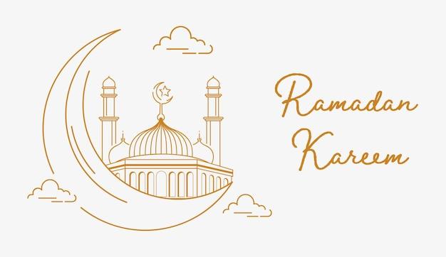 Ramadan kareem ze stylem golden line art