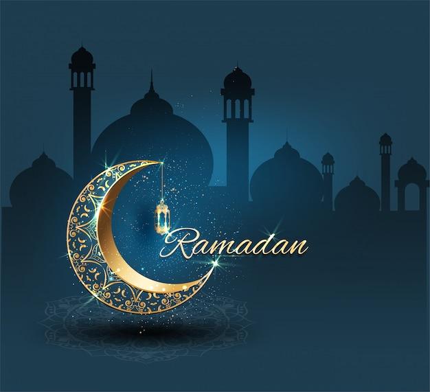 Ramadan kareem ze złotymi ozdobami