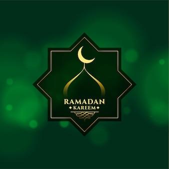 Ramadan kareem zielona karta festiwalu tło