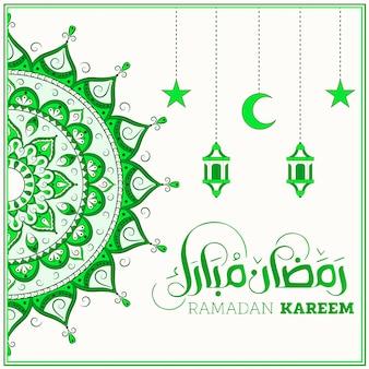 Ramadan kareem zielona mandala dla mediów społecznościowych