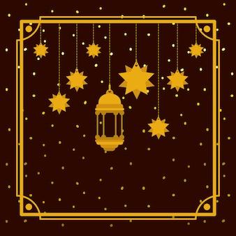Ramadan kareem złota ramka z lampą i wiszącymi gwiazdami