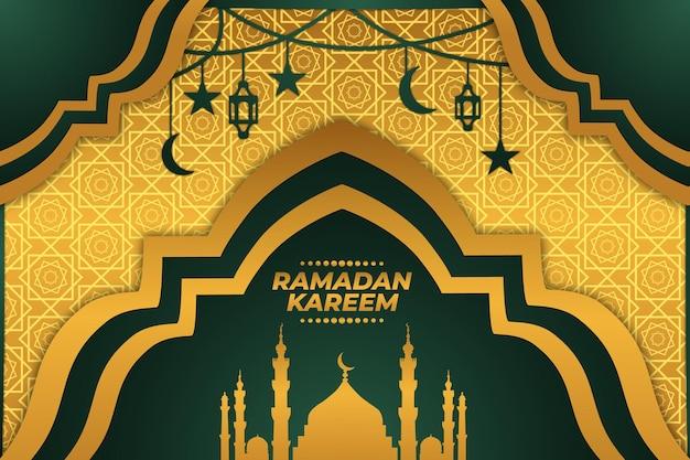 Ramadan kareem złoty gradientowy zielony meczet płaski tło