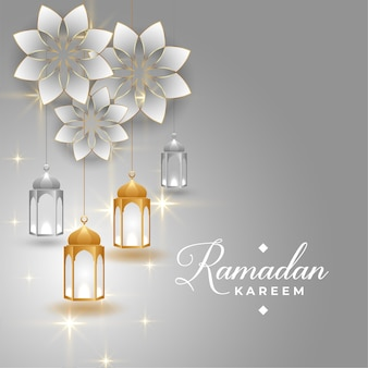 Ramadan kareem złoty i srebrny projekt karty z pozdrowieniami