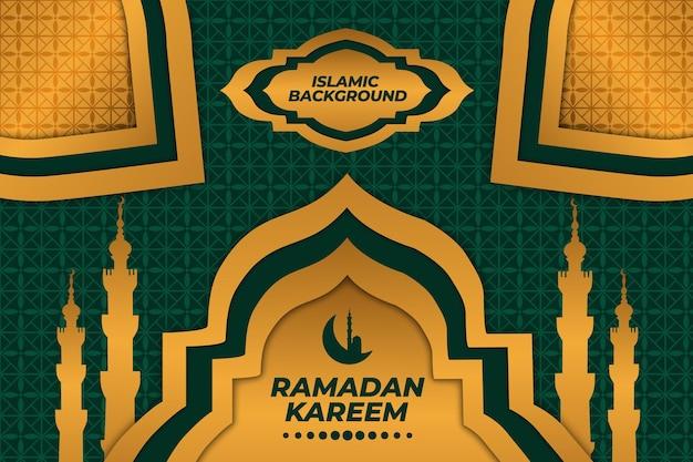 Ramadan kareem złoty meczet islamski tło