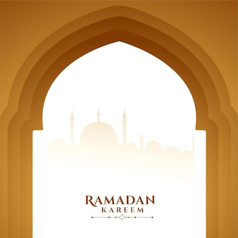 Ramadan kareem życzy pozdrowienia drzwiami meczetu