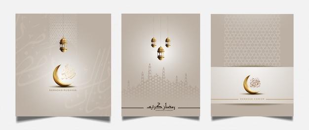 Ramadan kartkę z życzeniami ze złotym półksiężycem i latarnią