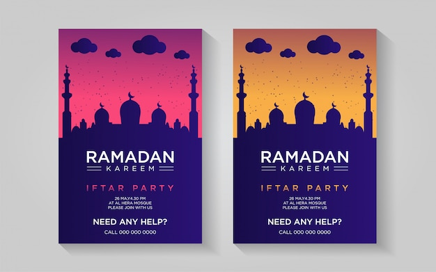 Ramadan kolorowy plakat szablon