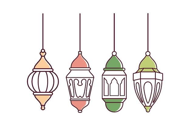Ramadan lantern symbol vector design ze stylowym konturem na białym tle