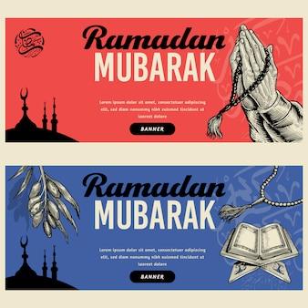 Ramadan mubarak banner ilustracja rysowane ręcznie