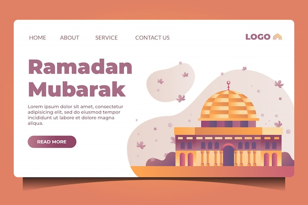 Ramadan mubarak landing page with mosque