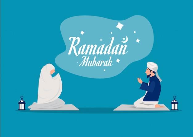 Ramadan Mubarak Modlitewny Pojęcie Z Ludźmi Charakter Ilustraci Premium Wektorów
