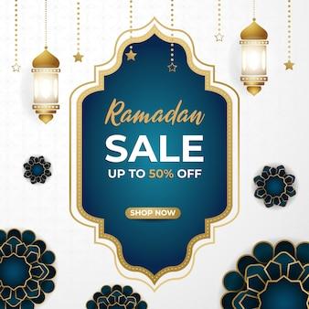 Ramadan mubarak super wyprzedaż rabat kwadratowy banner