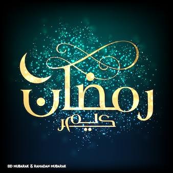 Ramadan mubarak twórcza typografia z księżyca na niebieskim i zielonym tle