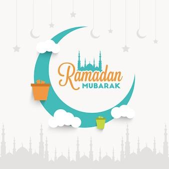 Ramadan mubarak typografia z księżycem i prezentami dla ilustracji ramadanu