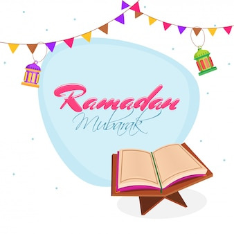 Ramadan mubarak uroczystości ze świętą księgą koran shareef.