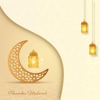 Ramadan mubarak z ornamentem półksiężyca i zapalonymi latarniami