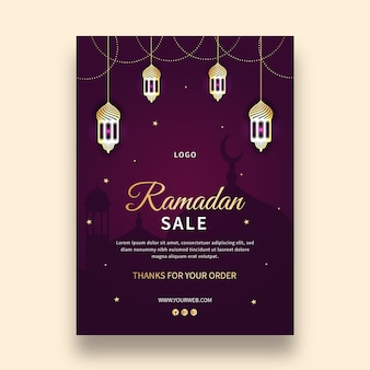 Ramadan pionowy szablon karty z pozdrowieniami