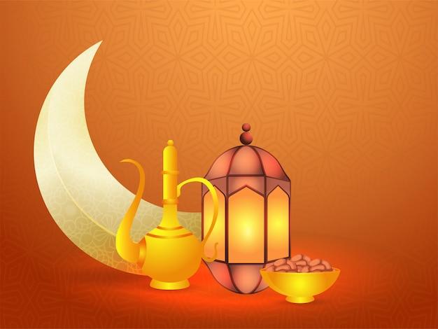 Ramadan. projekt tła z półksiężycem, oświetlony