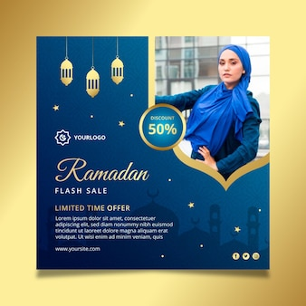 Ramadan sprzedaż kwadratowa ulotka szablon