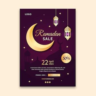 Ramadan sprzedaż pionowa ulotka szablon