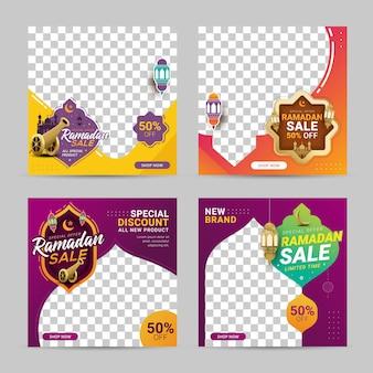 Ramadan sprzedaż rabat transparent zestaw szablonu promocja