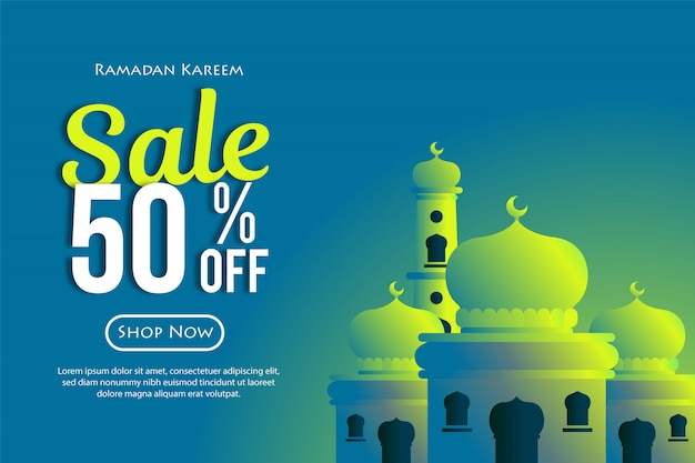 Ramadan sprzedaży rabaty banery z meczetu. promocje i szablony zakupów lub na miesiąc ramadan i eid