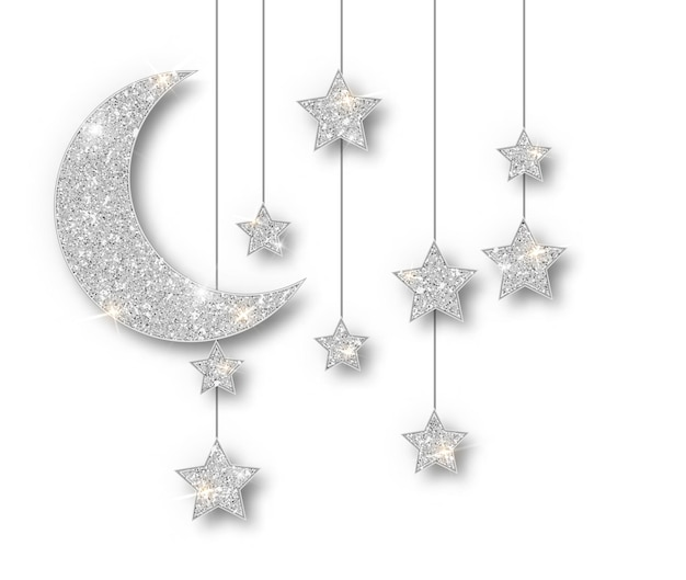 Ramadan srebrna ozdoba na białym tle. wiszące półksiężyc islamskie gwiazdki z brokatem. ramadan kareem element projektu na białym tle. rama wektor party plakaty, nagłówki, banery.