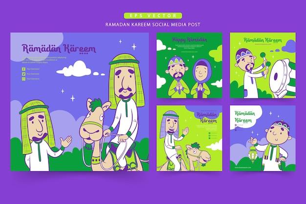 Ramadan szablon postu w mediach społecznościowych z uroczą muzułmańską kreskówką