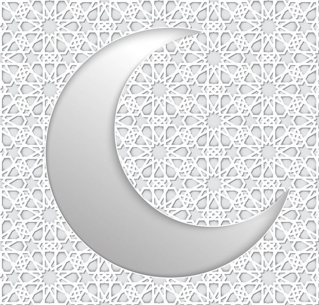 Ramadan tło islamski półksiężyc i wzór arabski