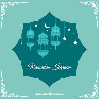 Ramadan tło z lampy i ozdoby